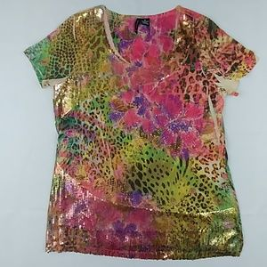 Multicolor Short Sleeve Top with Sequence. XL